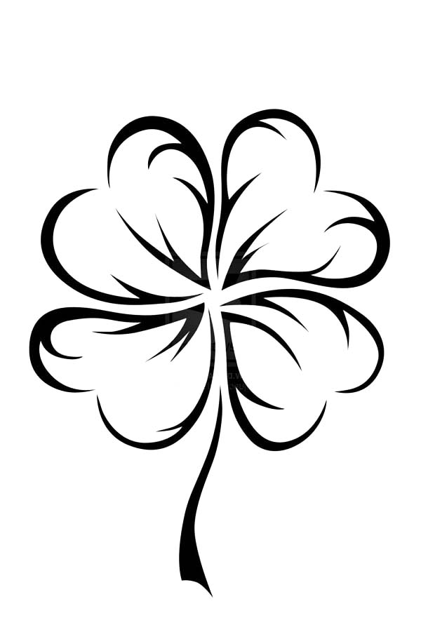 clover coloring page - an art graphic of four leaf clover coloring page netart
