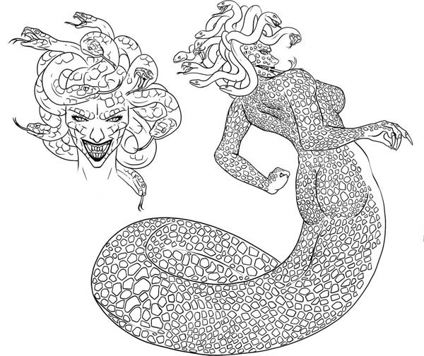 How to draw medusa coloring page netart for Medusa coloring page