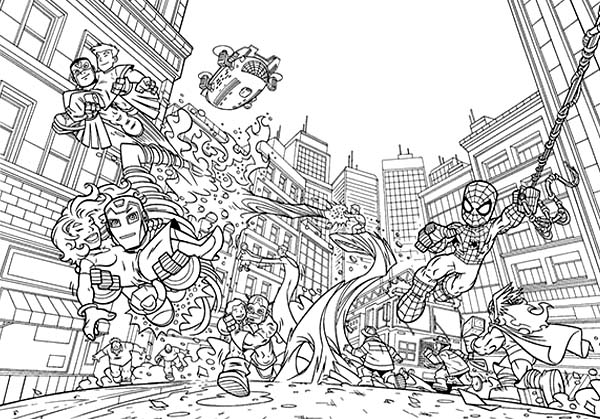 Marvel\'s Super Heroes Saving Each Other in Super Hero Squad Coloring ...