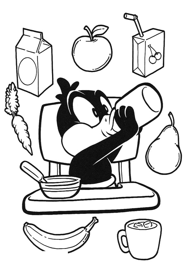 Daffy Duck Eating His Healthy Breakfast Coloring Pages