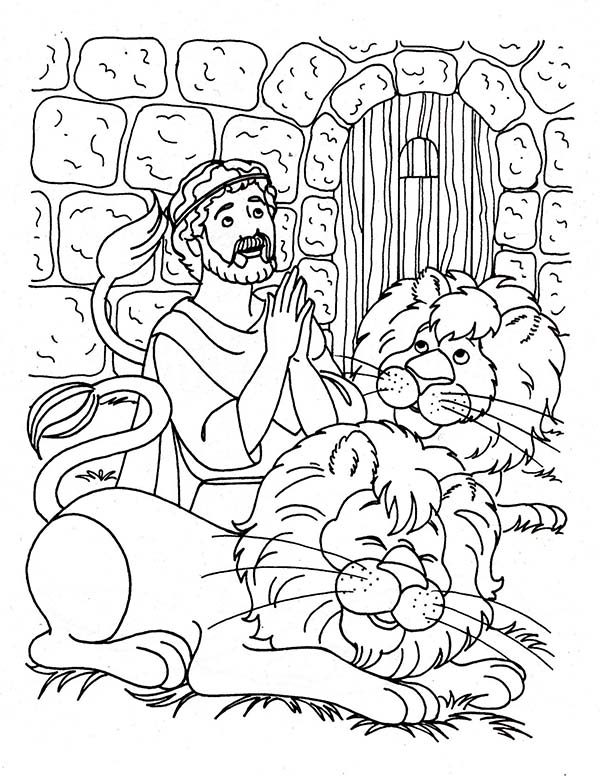 Daniel Praying Three Times a Day in Daniel and the Lions Den ...
