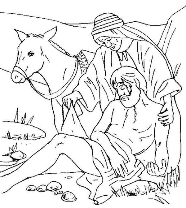Being Helped by Good Samaritan Coloring Page