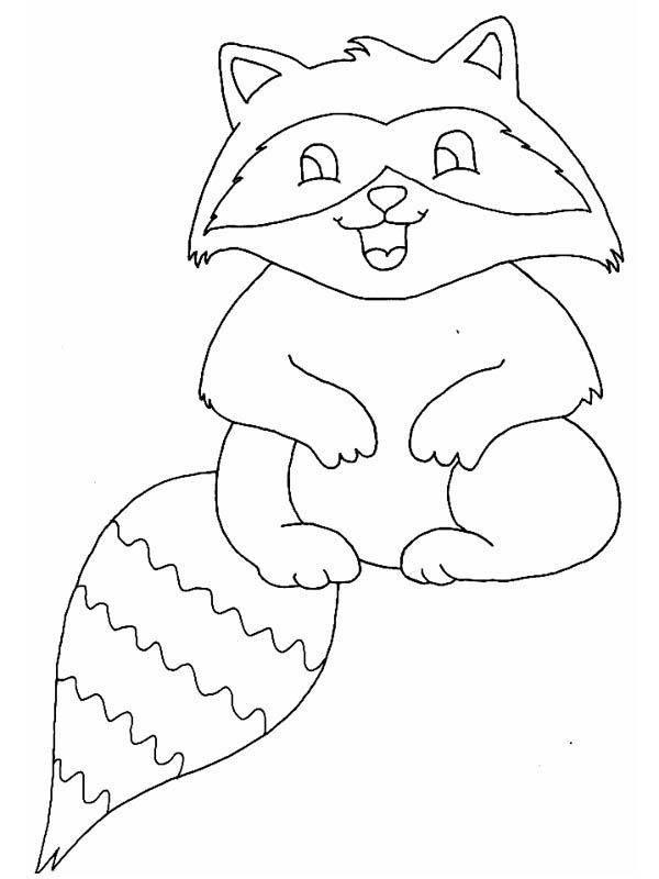 baby raccoon laugh coloring page - Racoon Coloring Page