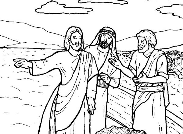 Tells Disciple to Fish in Miracles of Jesus Coloring Page
