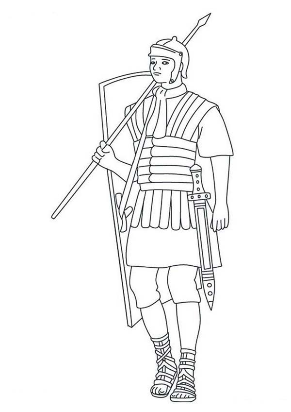 a typical roman soldier coloring page