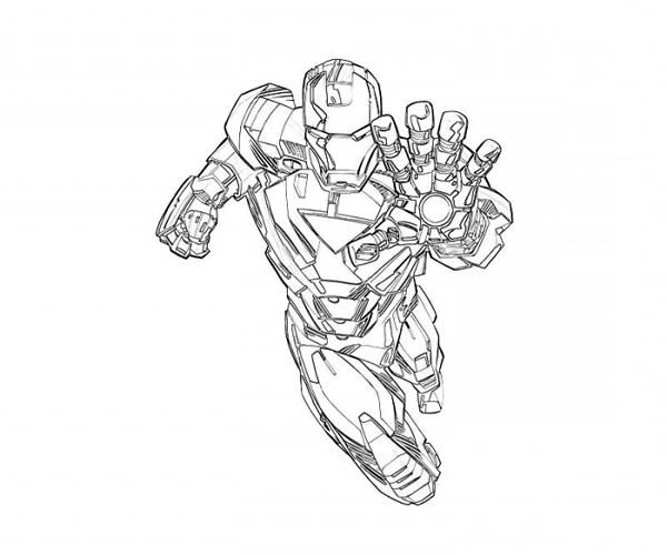 mark 6 is on duty in iron man coloring page - Iron Man Coloring Page