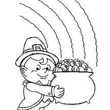 A Cute Kid Holding a Pot of Gold on St Patricks Day Coloring Page