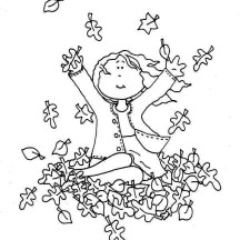 A Girl Catching Fall Leaf Coloring Page