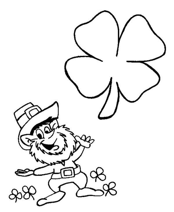A Happy Leprechaun and Flying Four-Leaf Clovers on St Patricks Day Coloring Page