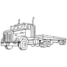 A Semi Truck with Empty Load Coloring Page