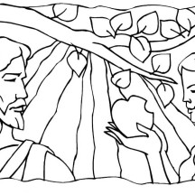 Adam and Eve Broke Commandment of God in Garden of Eden Coloring Page