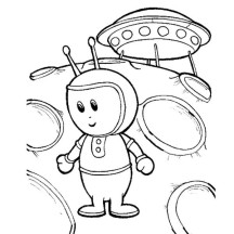 Alien and Abandon Spaceship Coloring Page