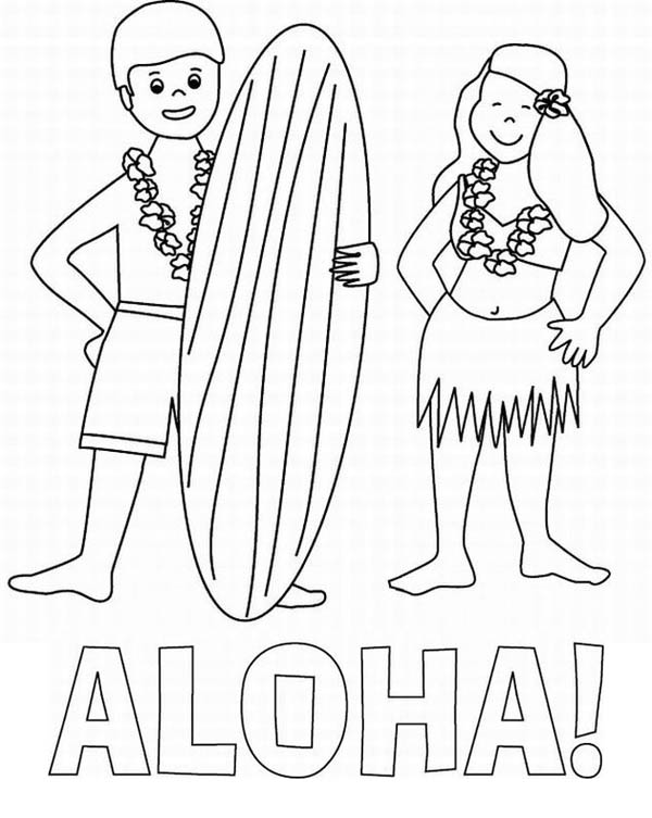 Aloha is Hawaiian Greet Coloring Page