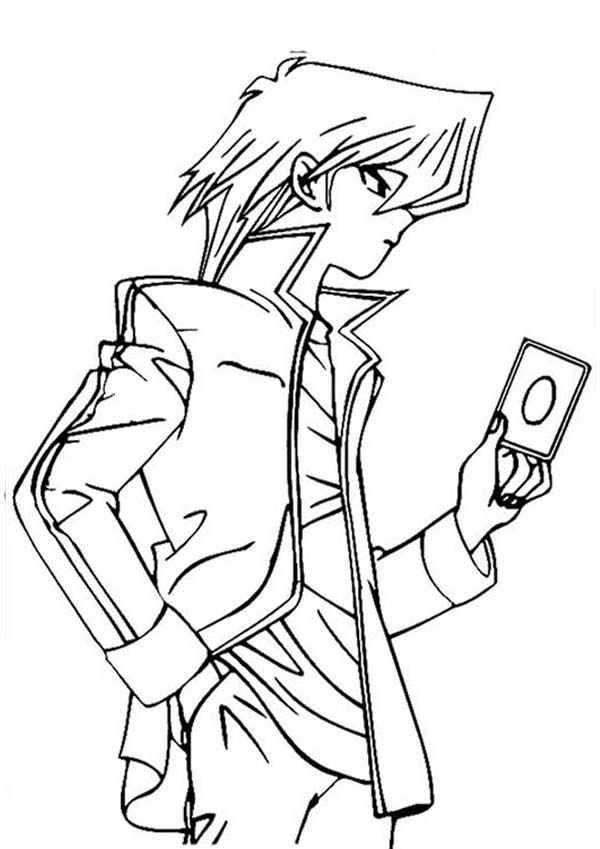 Amazing Seto Kaiba in Yu Gi Oh Coloring Page