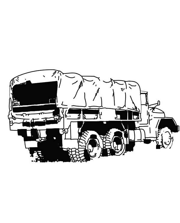 An Army Semi Truck Coloring Page