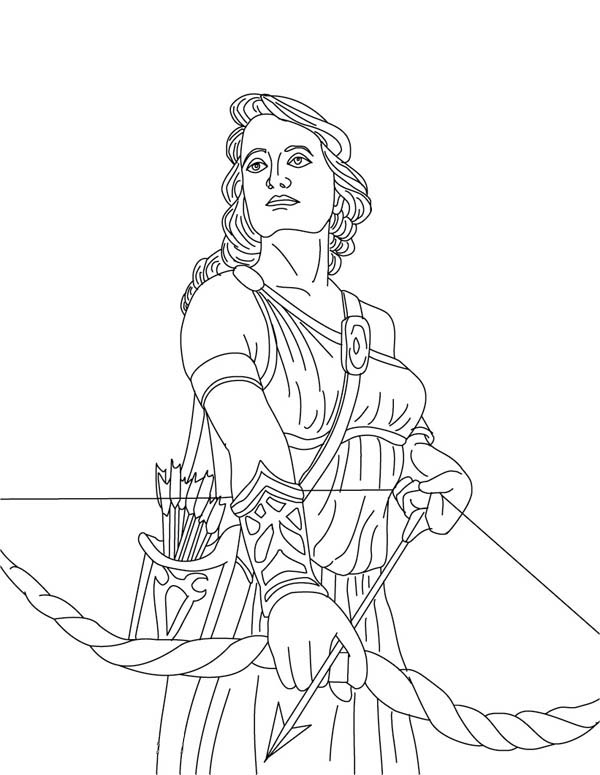 Artemis from Greek Gods and Goddesses Coloring Page