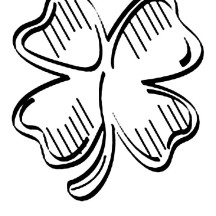 Artistic Drawing of Four-Leaf Clover Coloring Page