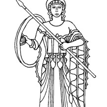 Athena from Greek Gods and Goddesses Coloring Page