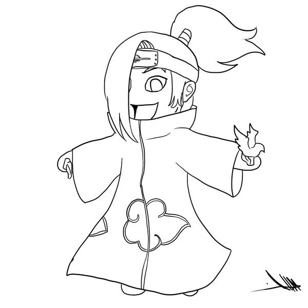 Awesome Chibi Deidara Drawing Coloring Page