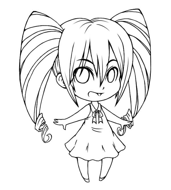 Awesome Chibi Drawing Coloring Page