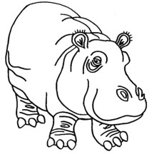 Awesome Hippo Coloring Page