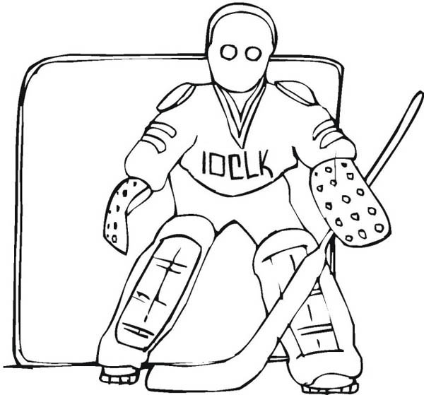 Awesome Hockey Goal Keeper Player Coloring Page