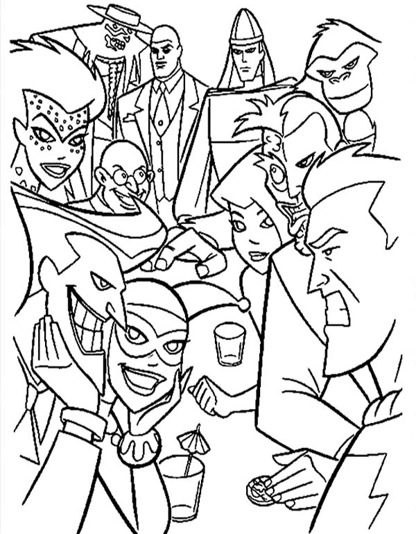 Batman vs Villains in Super Hero Squad Coloring Page