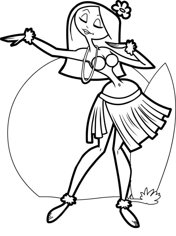 Beautiful Hawaiian Hula Dancer Coloring Page