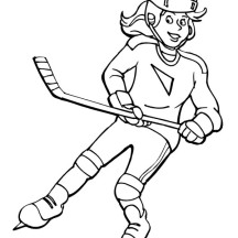 Beautiful Hockey Player Coloring Page