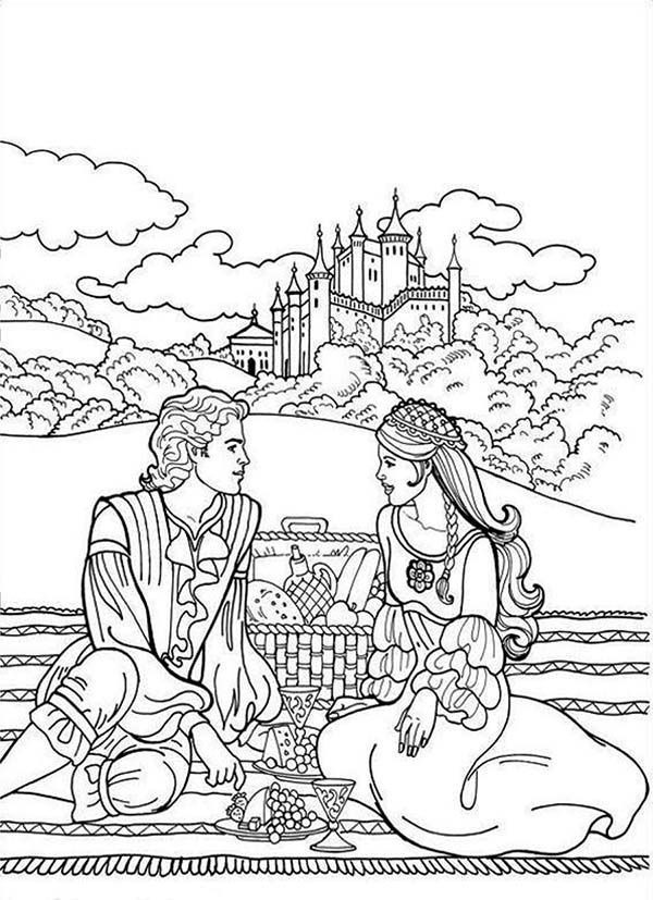 Boy and Girl Going Picnic Coloring Page