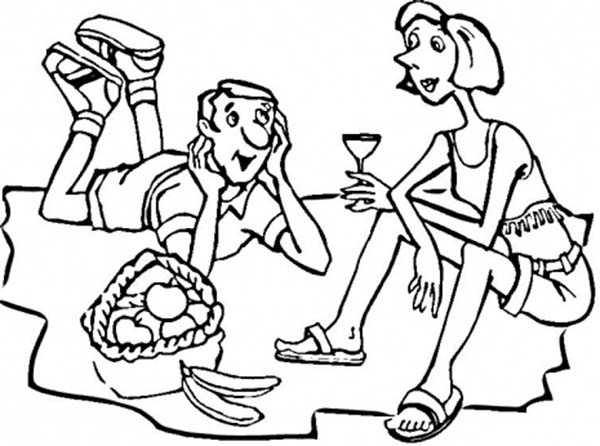 Boy and Girl Picnic on Holiday Coloring Page