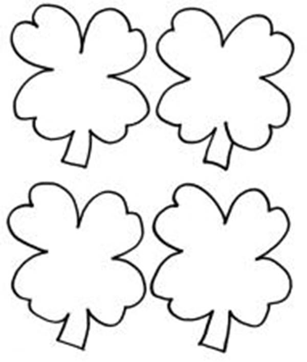 Bunch Four-Leaf Clover for St Patricks Day Coloring Page