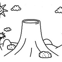 Calm Volcano Coloring Page