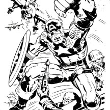 Captain America in One of Marvel Super Hero Squad Coloring Page