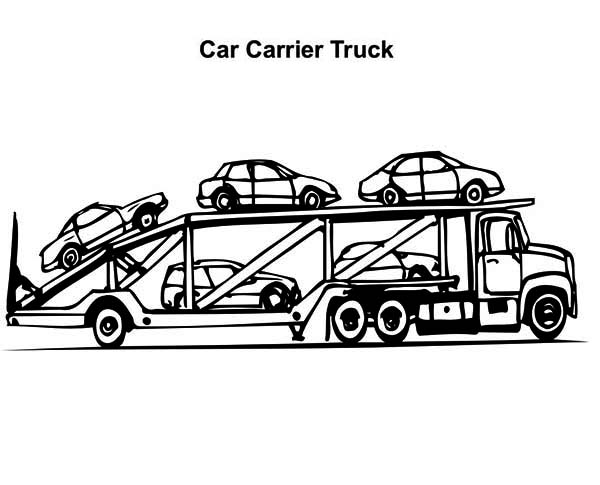 Car Carrier Semi Truck Coloring Page