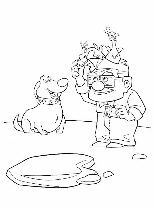 Carl Fredricksen Feeding Baby Bird on His Head in Disney Up Coloring Page