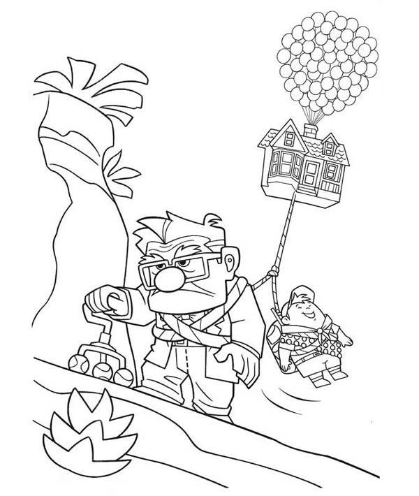 Carl Fredricksen Long Faced while Dragging Russel and the House in Disney Up Coloring Page