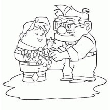 Carl Fredricksen Put a Medal on Russell Shirt in Disney Up Coloring Page