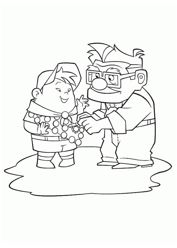 Russell from up coloring pages ~ Carl Fredricksen Put a Medal on Russell Shirt in Disney Up ...