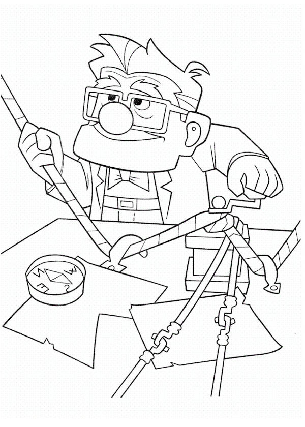 Carl Fredricksen Setting Rope for Adventure in Disney Up Coloring Page