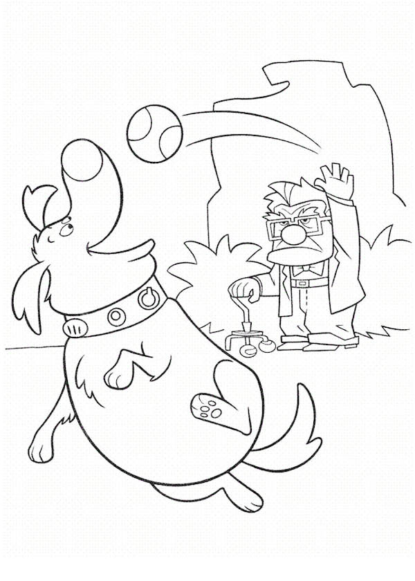Carl Fredricksen Throwing a Ball to Dug in Disney Up Coloring Page