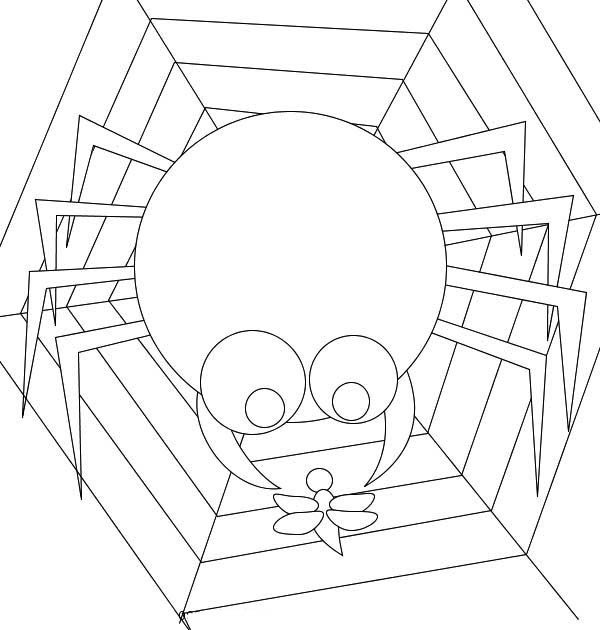 Cartoon of Spider Eating Insect on Spider Web Coloring Page