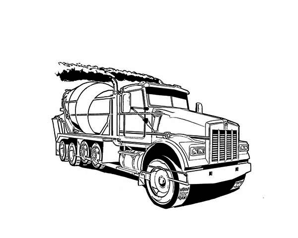 Cement Truck in Semi Truck Coloring Page