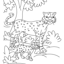 Cheetah in the Forest Coloring Page