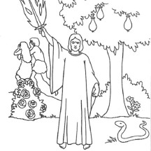 Cherubims and Flaming Sword Guarding Tree of Knowledge in Garden of Eden Coloring Page