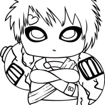 Chibi Gaara of the Desert Coloring Page