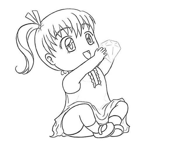 Chibi Girl Holding a Big Diamond Coloring Page