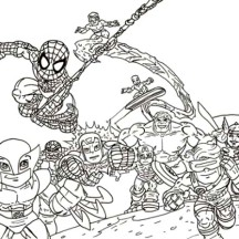 Chibi Super Hero Squad Coloring Page