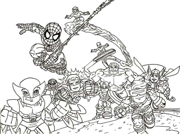 Chibi Super Hero Squad Coloring Page
