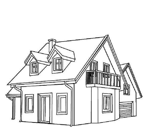 Common Town Houses Coloring Page